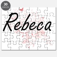 Rebeca Artistic Name Design with Butterflie Puzzle