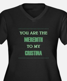 MEREDITH to Women's Plus Size V-Neck Dark T-Shirt