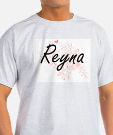 Reyna Artistic Name Design with Butterflie T-Shirt