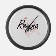 Reyna Artistic Name Design with B Large Wall Clock