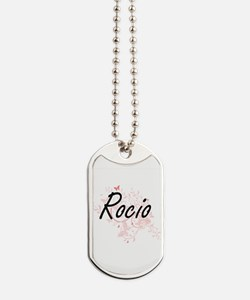 Rocio Artistic Name Design with Butterfli Dog Tags