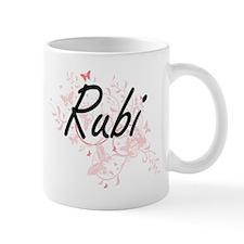 Rubi Artistic Name Design with Butterflies Mugs