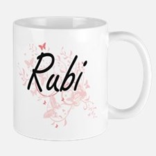 Rubi Artistic Name Design with Butterflies Mugs