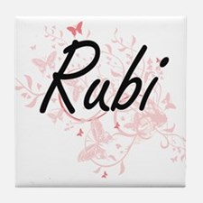 Rubi Artistic Name Design with Butter Tile Coaster