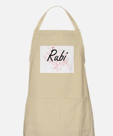 Rubi Artistic Name Design with Butterflies Apron