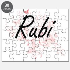 Rubi Artistic Name Design with Butterflies Puzzle