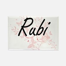 Rubi Artistic Name Design with Butterflies Magnets