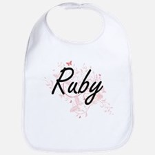 Ruby Artistic Name Design with Butterflies Bib