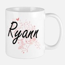 Ryann Artistic Name Design with Butterflies Mugs