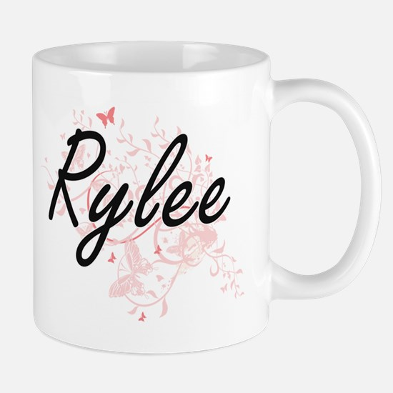 Rylee Artistic Name Design with Butterflies Mugs