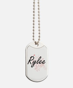 Rylee Artistic Name Design with Butterfli Dog Tags