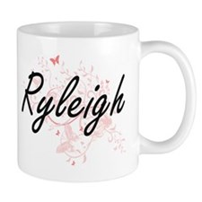 Ryleigh Artistic Name Design with Butterflies Mugs