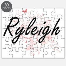 Ryleigh Artistic Name Design with Butterfli Puzzle