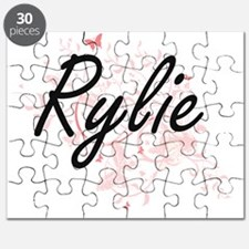 Rylie Artistic Name Design with Butterflies Puzzle