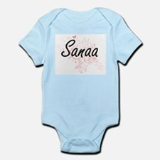 Sanaa Artistic Name Design with Butterfl Body Suit