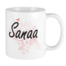 Sanaa Artistic Name Design with Butterflies Mugs