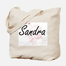 Sandra Artistic Name Design with Butterfl Tote Bag