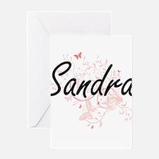 Sandra Artistic Name Design with Bu Greeting Cards