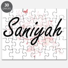 Saniyah Artistic Name Design with Butterfli Puzzle