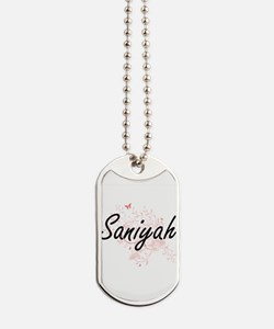 Saniyah Artistic Name Design with Butterf Dog Tags