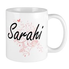 Sarahi Artistic Name Design with Butterflies Mugs
