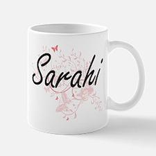 Sarahi Artistic Name Design with Butterflies Mugs