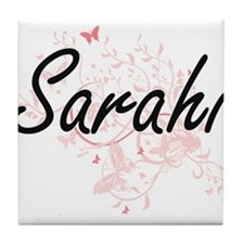 Sarahi Artistic Name Design with Butt Tile Coaster