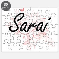 Sarai Artistic Name Design with Butterflies Puzzle
