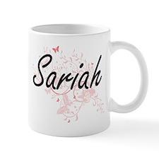 Sariah Artistic Name Design with Butterflies Mugs