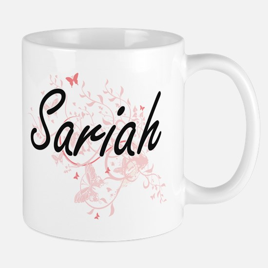 Sariah Artistic Name Design with Butterflies Mugs