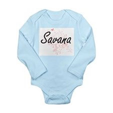 Savana Artistic Name Design with Butterf Body Suit