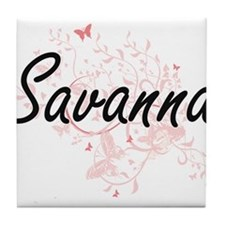 Savanna Artistic Name Design with But Tile Coaster