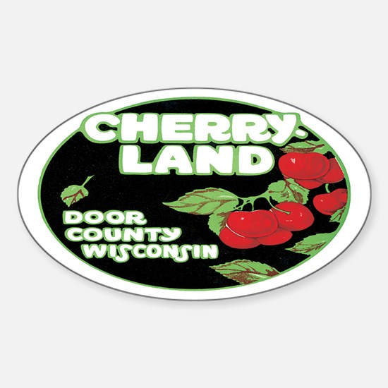 Vintage Cherry Land Oval Decal