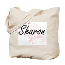 Sharon Artistic Name Design with Butterfl Tote Bag