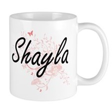 Shayla Artistic Name Design with Butterflies Mugs