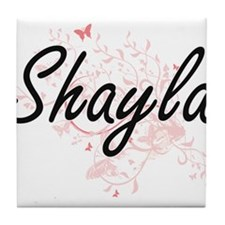 Shayla Artistic Name Design with Butt Tile Coaster