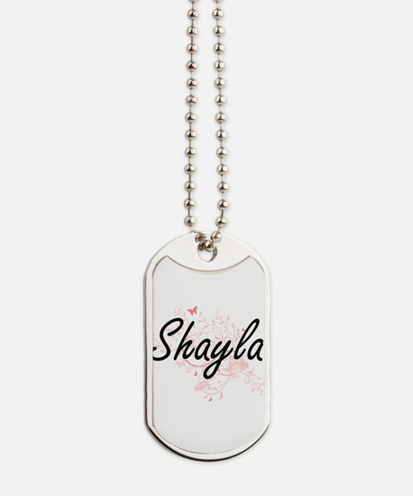 Shayla Artistic Name Design with Butterfl Dog Tags