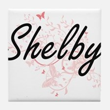 Shelby Artistic Name Design with Butt Tile Coaster