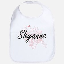 Shyanne Artistic Name Design with Butterflies Bib