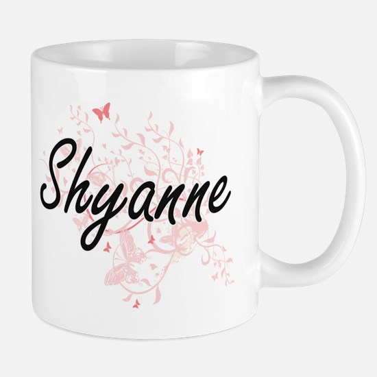 Shyanne Artistic Name Design with Butterflies Mugs