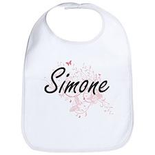 Simone Artistic Name Design with Butterflies Bib