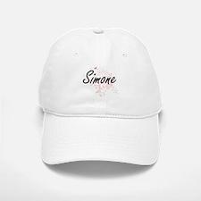 Simone Artistic Name Design with Butterflies Baseball Baseball Cap