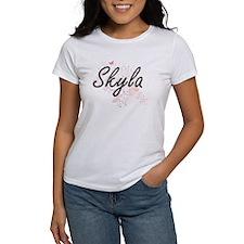 Skyla Artistic Name Design with Butterflie T-Shirt