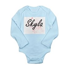 Skyla Artistic Name Design with Butterfl Body Suit
