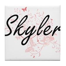 Skyler Artistic Name Design with Butt Tile Coaster