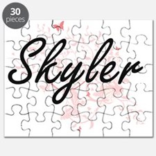 Skyler Artistic Name Design with Butterflie Puzzle