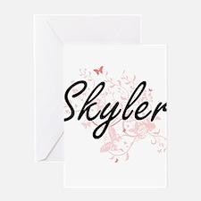 Skyler Artistic Name Design with Bu Greeting Cards