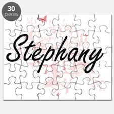 Stephany Artistic Name Design with Butterfl Puzzle