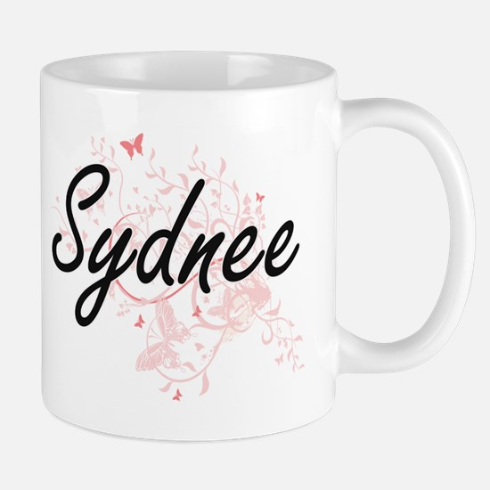 Sydnee Artistic Name Design with Butterflies Mugs