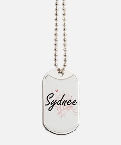 Sydnee Artistic Name Design with Butterfl Dog Tags